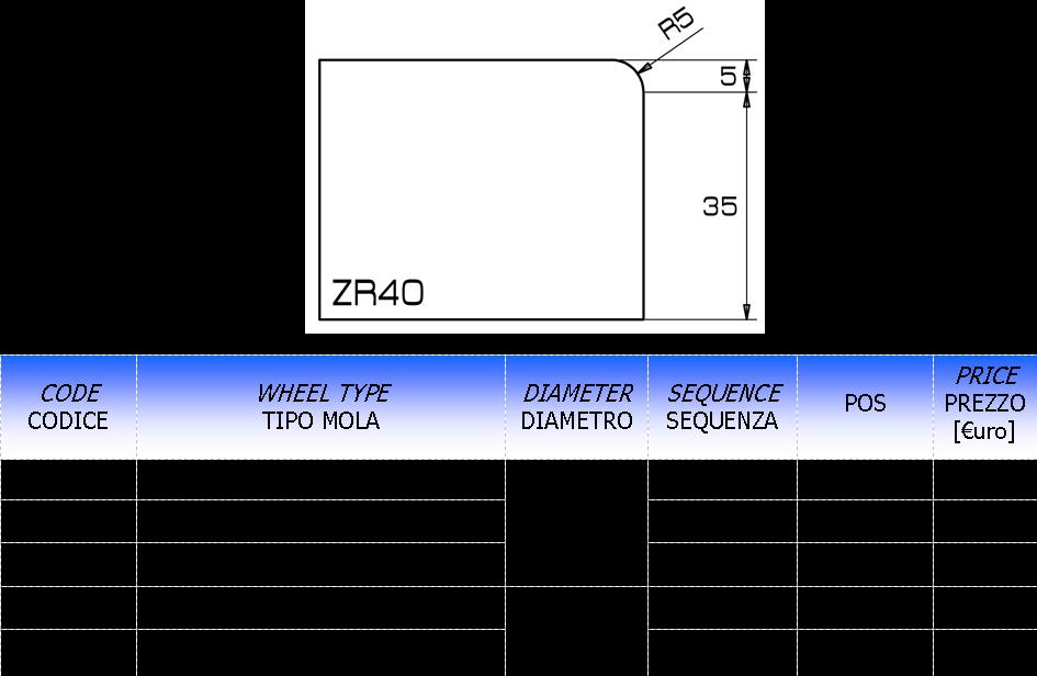 Meule CNC profil ZR40